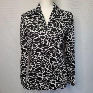 Jones New York Giraffe Print Button Down Shirt M